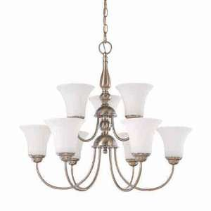Nuvo 60/1823 Dupont 9 Light Brushed Nickel Chandelier