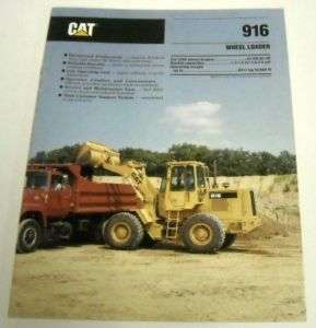 Caterpillar 1989 916 Wheel Loader Sales Brochure