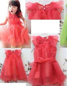 Toddlers Girls Tulle Dress Pink Mesh Lace Bow size 2 3 4 5 T yrs old