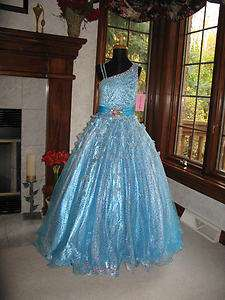 Perfect Angels 1423 Aqua Turquoise Girls Pageant Gown Dress 12