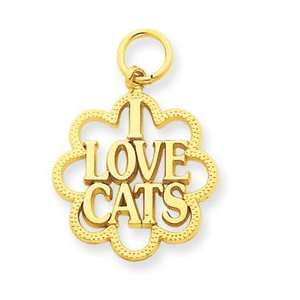 14k I Love Cats Charm   Measures 24.7x17.7mm   JewelryWeb Jewelry
