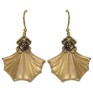 Jody Coyote Cafe Gold Frosted Ginkgo Leaf Drop Earrings