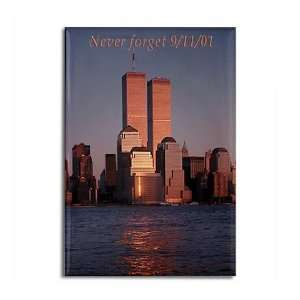 Twin Towers Magnet Remember 9/11 Art Rectangle Magnet by