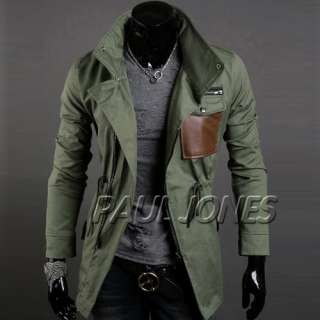 PJ Trendy Men's Stylish Slim Fit Jackets Coats Trench Hoody SzXS~L