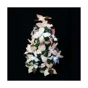 24 LED Battery Operated White Poinsettia Christmas Tree   Warm Clear