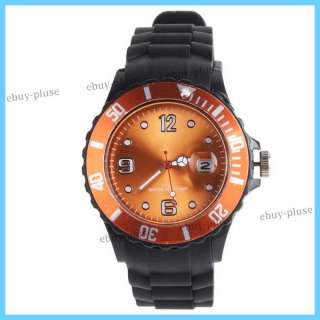 Calendar Quartz Silicone Band Wrist Dial Watch 9 Color