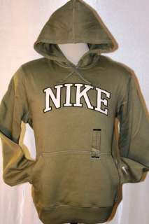 NIKE CLASSIC FLEECE TRAINNING BIG LOGO PULL OVER OLIVE HOODY SzXL