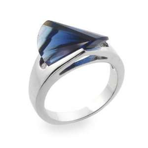Sterling Silver Ring with Sapphire Blue Cubic Zirconia Size 6 (Sizes 5