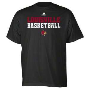 Louisville Cardinals Black adidas Basketball Sideline T