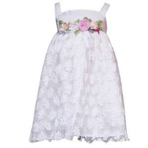 Little Girls WHITE FLORAL Easter Dress 12M 16 Rare Editions Baby