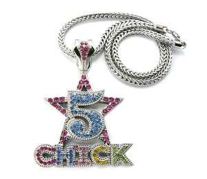 NICKI MINAJs Iced Out Paved 5 STAR CHICK Pendant w/Franco Chain