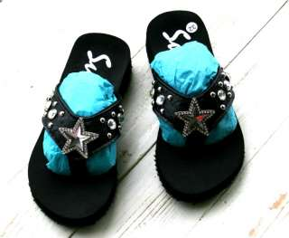 Girls Cowgirl Bling Rhinestone BLING Sandals Flip Flops shoe size 11