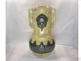 Art Deco Face Mask Vase Czechoslovakia Pottery Handles