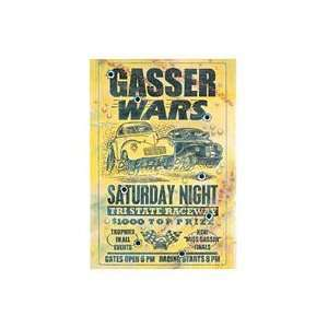 Gasser Wars Hot Rod Embossed Poster Metal Sign
