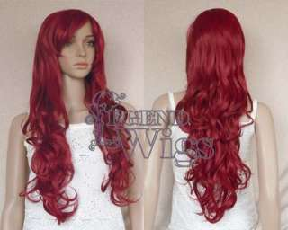 28 Long Wavy Wine Red Curly Cosplay Costume Party Wig LH13317