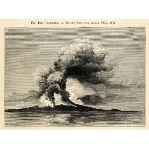 1882 Wood Engraving Eruption Mount Vesuvius Volcano Gulf Naples Italy