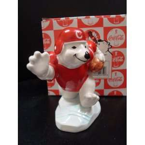 COCA COLA POLAR BEAR ALWAYS PLAYING FOOTBALL FIGURINE