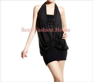 Korea Women Halter Mini Dress Backless Sexy CLubwear e0
