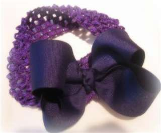 Girls Baby Boutique Hair Bows PURPLE Loop Bow Headband
