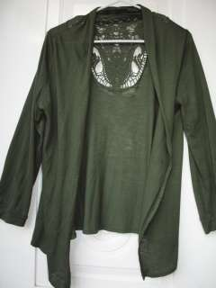 LUNA TIKS Olive Green Crochet Lace Back Open Front Cardigan Sweater