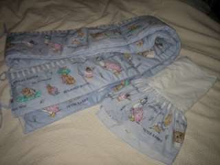 BLUE BABY BOY THEME PETER RABBIT CRIB BUMPER & SKIRT