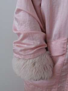 LINDA LUNDSTROM 3 PIECE PINK WOOL LA PARKA FAUX FUR HOODED COAT JACKET