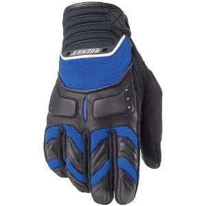Mens Leather Road Race Motorcycle Gloves   Blue/Black/White / Small