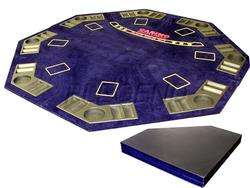 BLUE 4 FOLD TEXAS HOLDEM POKER TABLE TOP 2in1 W/ CASE