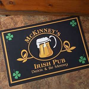 Personalized Irish Pub Door Mat   Four Leaf Clover Design