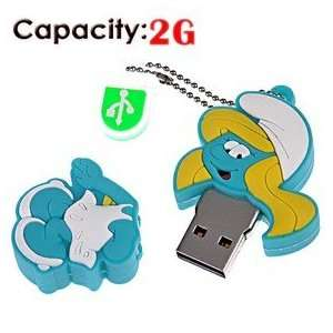 2G Rubber USB Flash Drive with Shape of Smurfs (Blue) Electronics