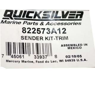 MERCURY QUICKSILVER 822573A12 BOAT TRIM SENDER KIT