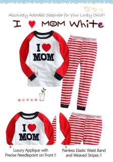 Toddler Kids Girl Boy Sleepwear Pajama Set  I ♥ MOM White