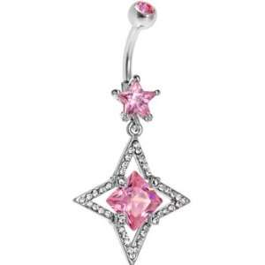 Pink Cubic Zirconia Hollow Star Square Belly Ring Jewelry