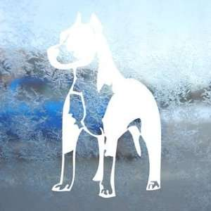 Pitbull Standing Bull Terrier Dog White Decal Car White