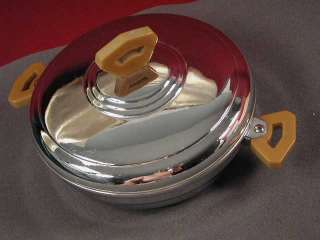 Bartsch Childs Covered Warming Dish, Chrome & Bakelite