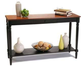 Country Cherry/Black Wood Console Hall Table 095285409112
