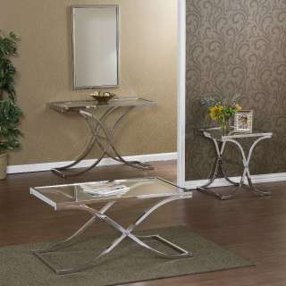 Transitional Glass & Chrome End Table Accent Table NEW
