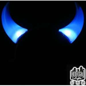 Masquerade Devil Blue LED Flash Light Horns Hair Clips Head Band Magic