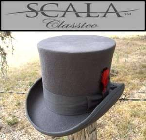 NEW Scala Grey MAD HATTER Victorian Dickens Tuxedo Dress TOP HAT