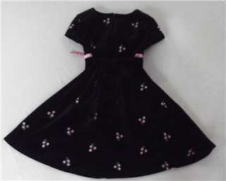 Girls Black Pink Roses Velour Christmas Winter Dress Youngland Sz 5
