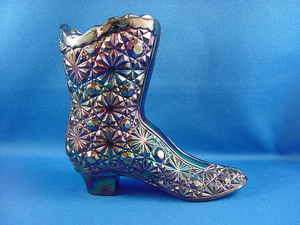 FENTON CARNIVAL GLASS IRRIDESCENT DAISY & BUTTON 4 BOOT EXCELLENT