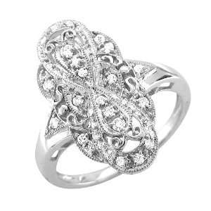 14k White Gold Diamond Ring Band, Size 7.5 (GH, I1 I2, 0