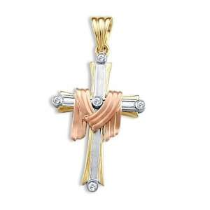 Draped Cross Pendant Cubic Zirconia 14k Rose White Yellow Gold Charm