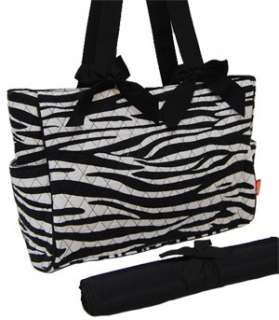 Black Zebra Quilted Diaper Bag With Changing Pad Baby Bag Tote Bag