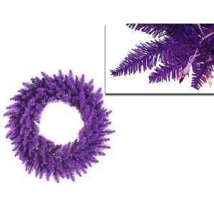 36 Pre Lit Purple Ashley Spruce Christmas Wreath   Clear