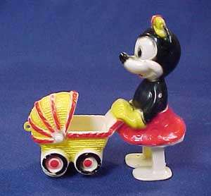 Vintage Disney Mini Mouse Pushing a Baby Carriage Toy