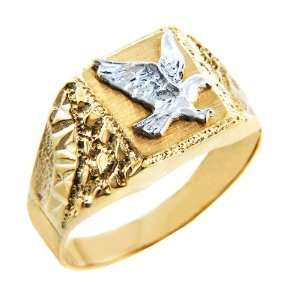 Mens Gold Rings   The Two Tone Gold Eagle Ring (4, 10K Gold) Jewelry