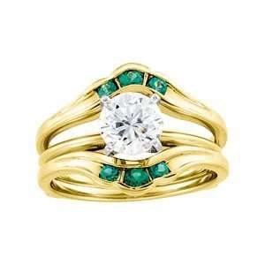 02.50Mm 14K Yellow Gold Bridal Ring Guard Genuine Emerald Jewelry