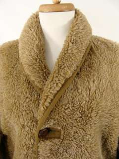 Brown PLUSH FAUX FUR WINDBREAKER Coat Jacket Ewok Costume M L