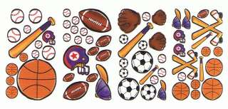 30 Reusable Sports Theme Wall Stickers Kids Room Decals